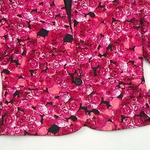 ASOS Jackets & Coats - ASOS Hot Pink Rose Floral Single Button Blazer